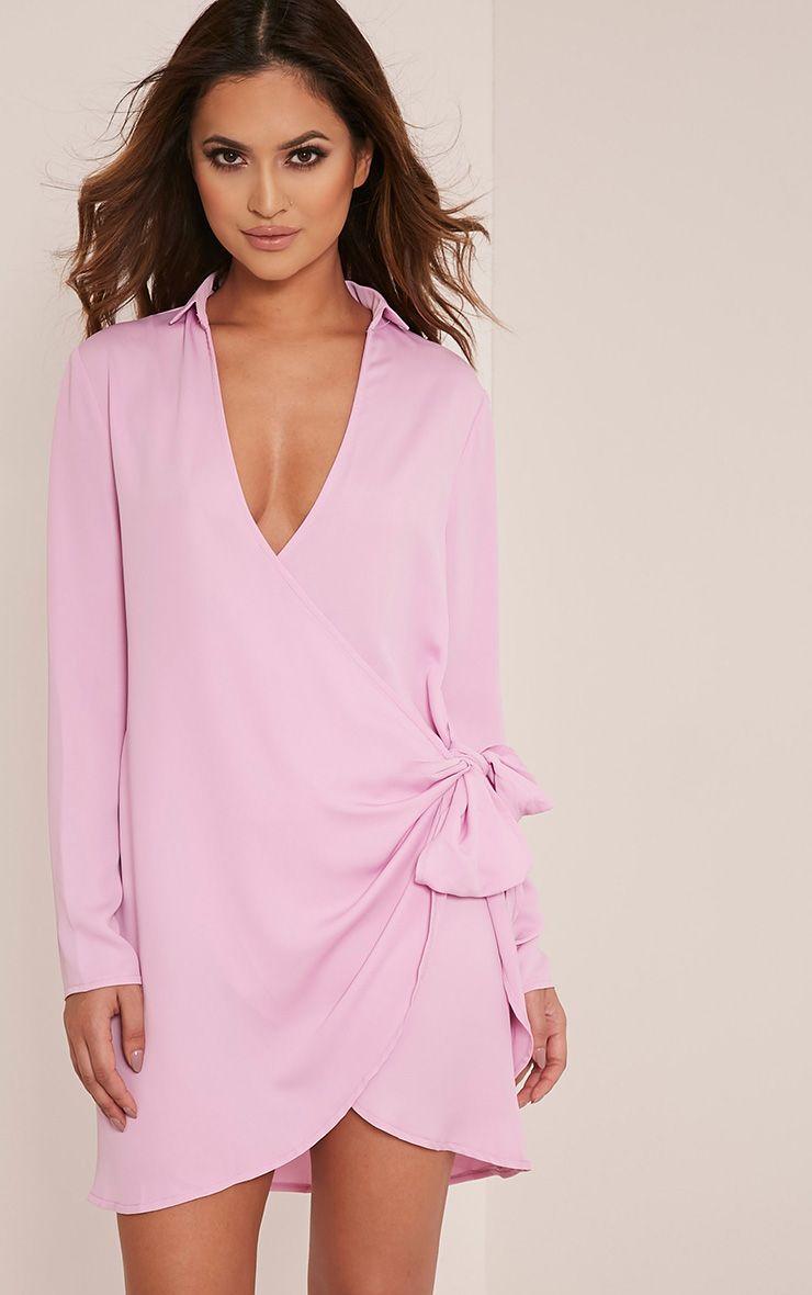 Shaylene Lilac Tie Side Satin Shirt Dress 1