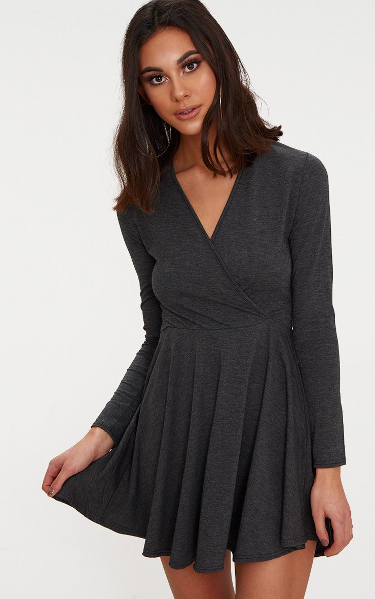 Charcoal Jersey Wrap Long Sleeve Skater Dress