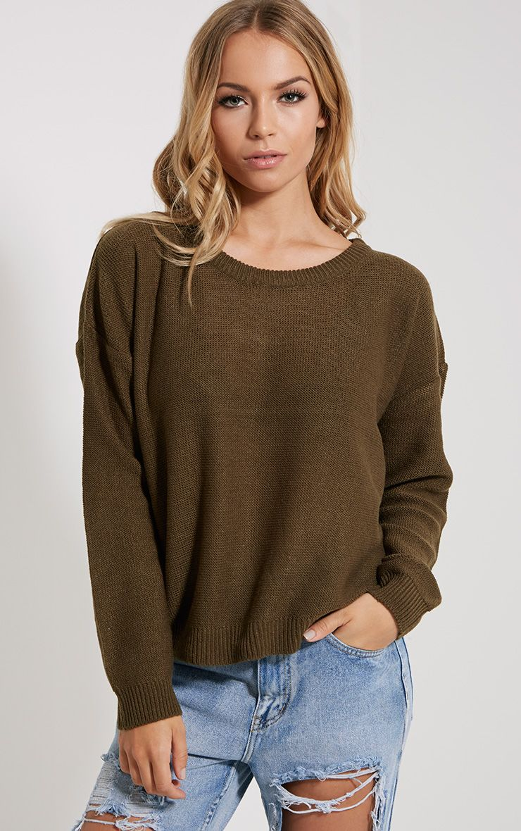 Farren Olive Knitted Crop Jumper 1