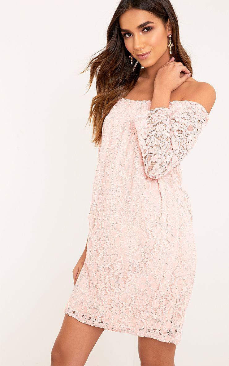 Cora Blush Lace Bardot Shift Dress