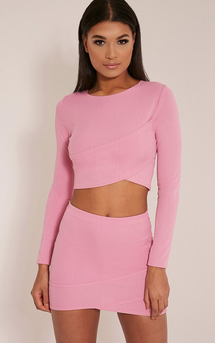 Alena Bubblegum Pink Cross Front Bandage Mini Skirt Bubblegum Pink