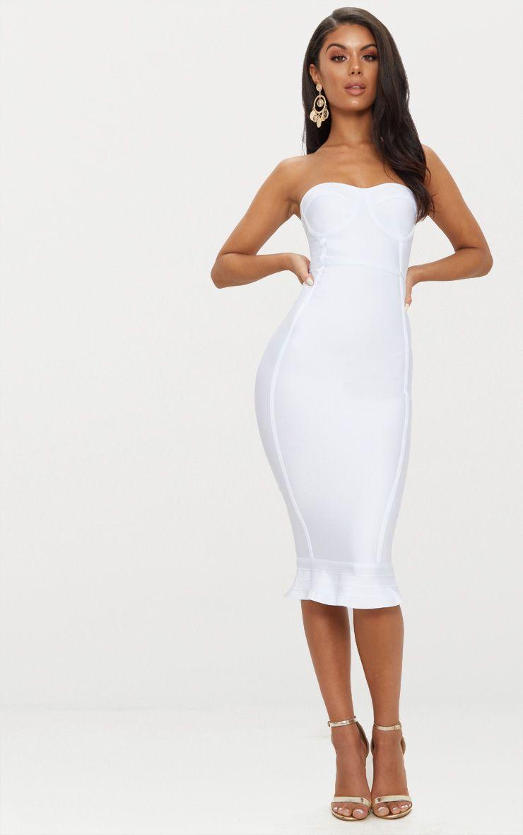 Roxina White Bandage Frill Hem Midi Dress