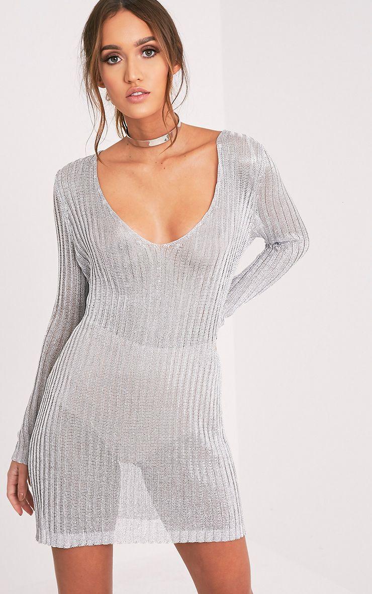 Abionae Metallic Silver Knit V Neck Jumper Dress