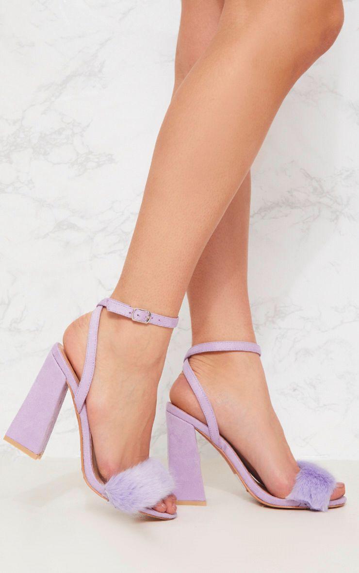 Lilac Faux Fur Strappy Block Heel Sandal 1
