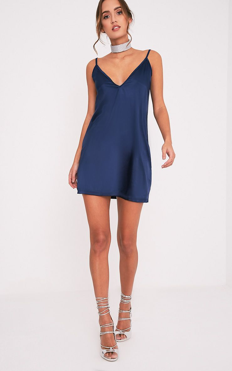 Erin Navy Plunge Satin Slip Dress 1