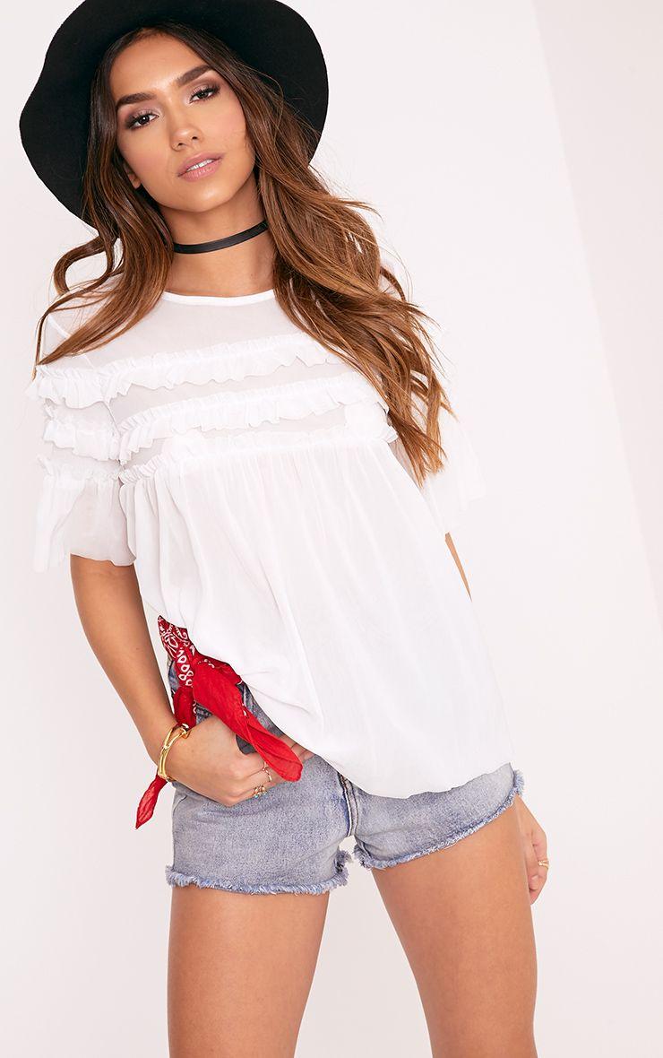 Eloisa Ivory Mesh Frill Detail T Shirt