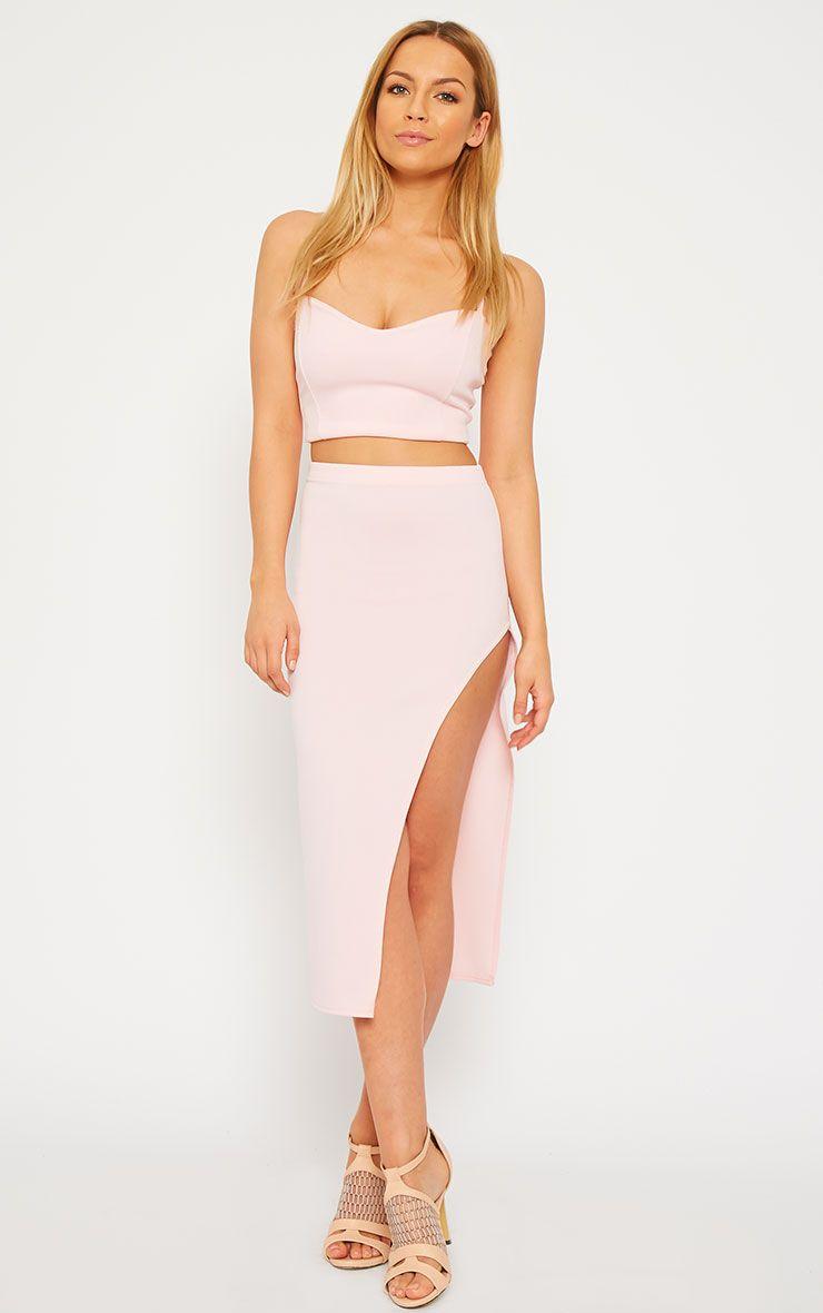 Savina Baby Pink Side Split Midi Skirt 1