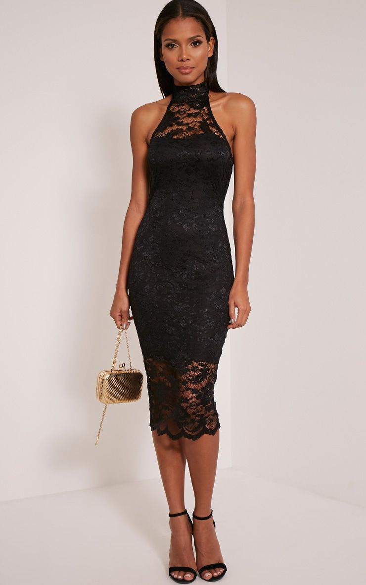 Kalli Black High Neck Lace Detail Midi Dress 1