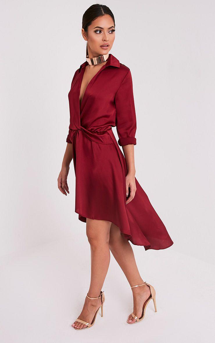 Gabbie Burgundy Silky Wrap Over Midi Dress