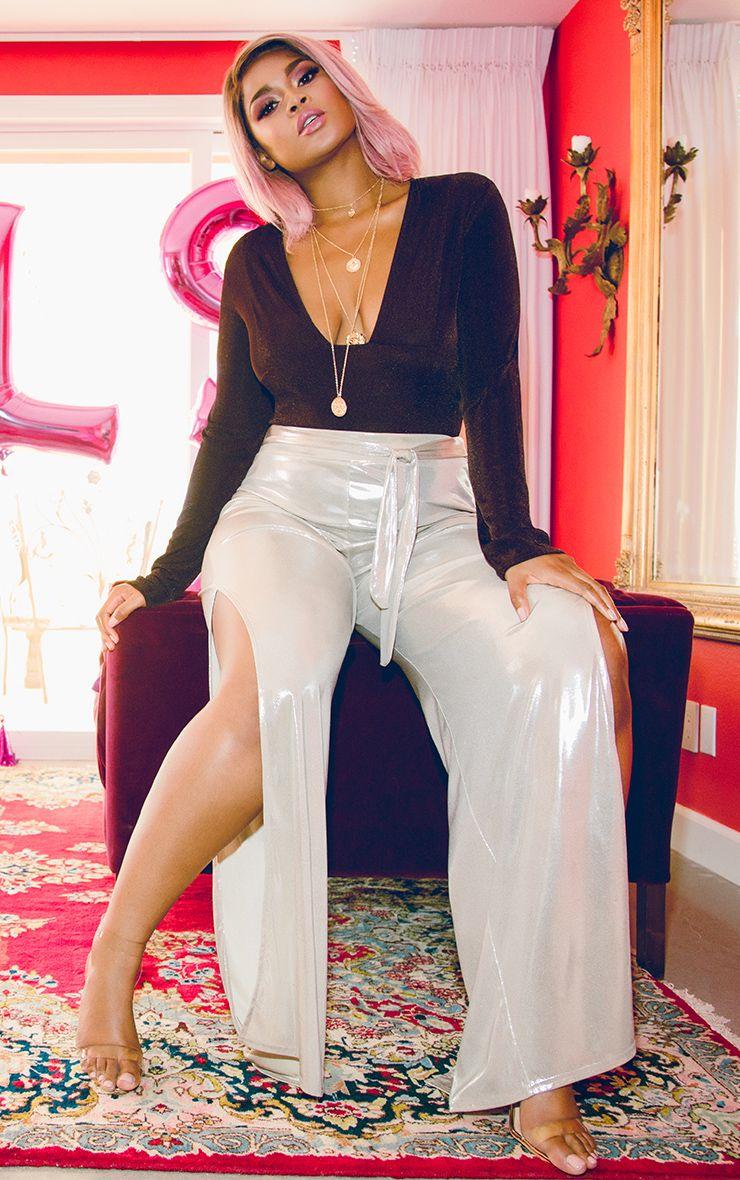 Gold Slinky Foil Tie Waist Wide Leg Trousers