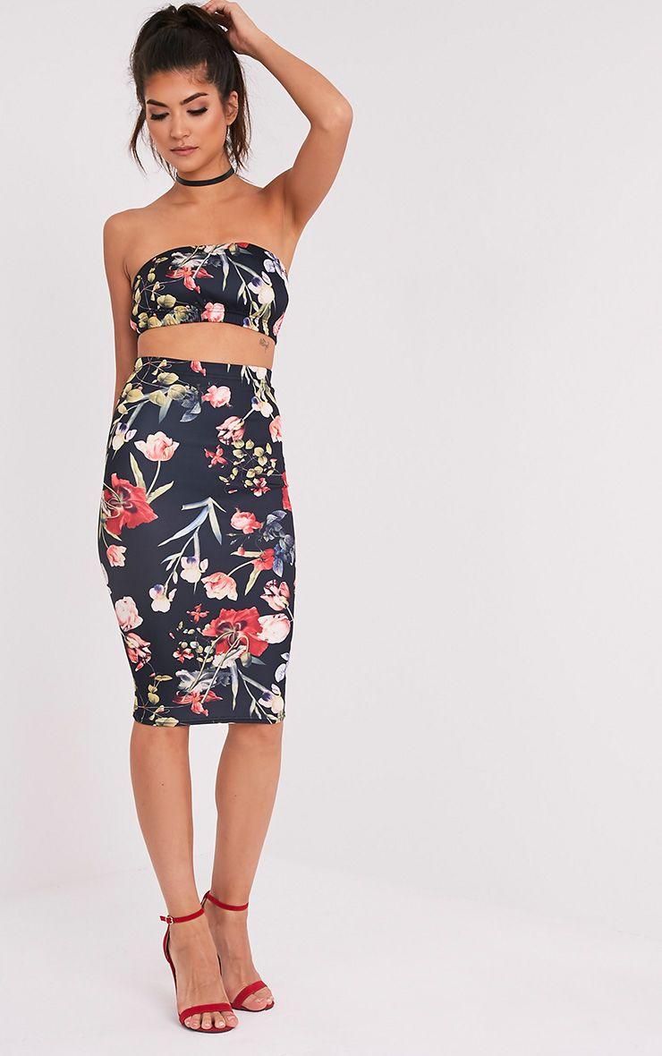 Lisette Black Floral Print Midi Skirt