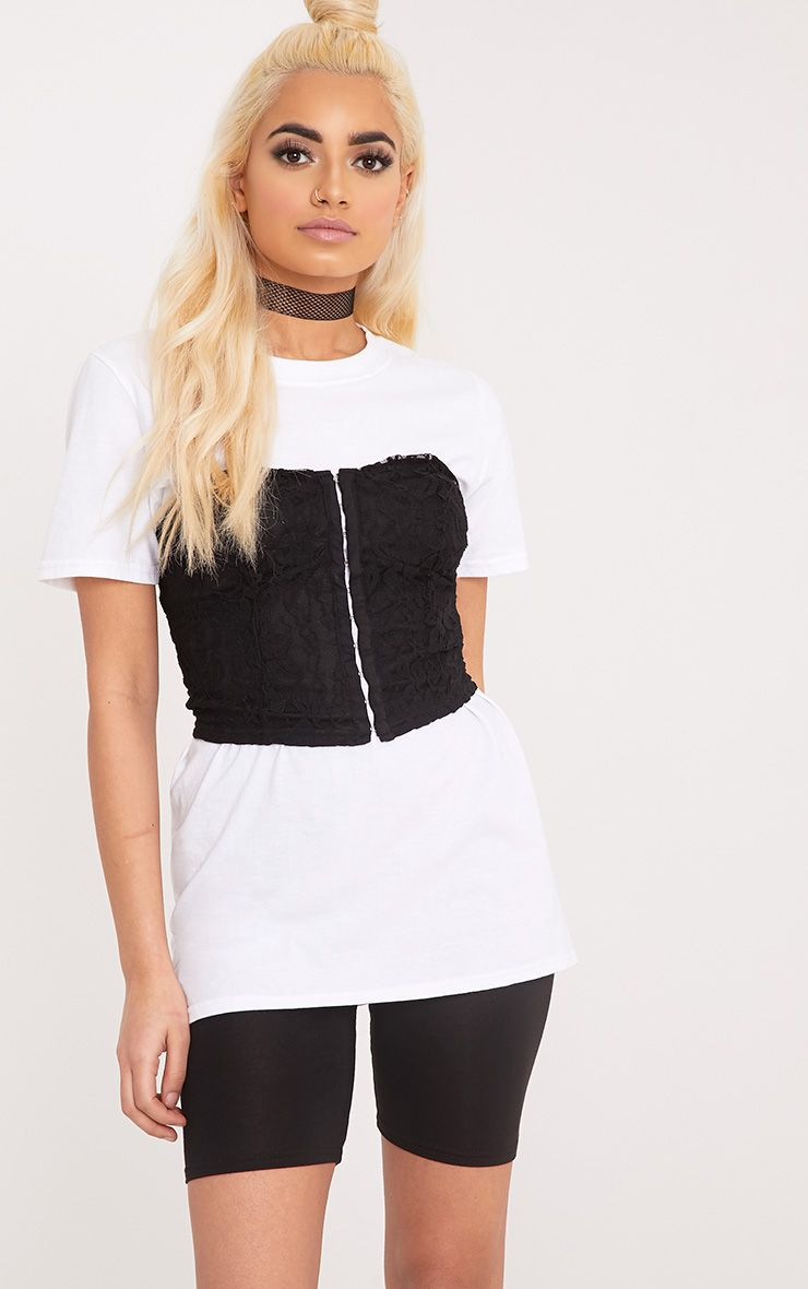 Arlene White Lace Corset Detail T Shirt
