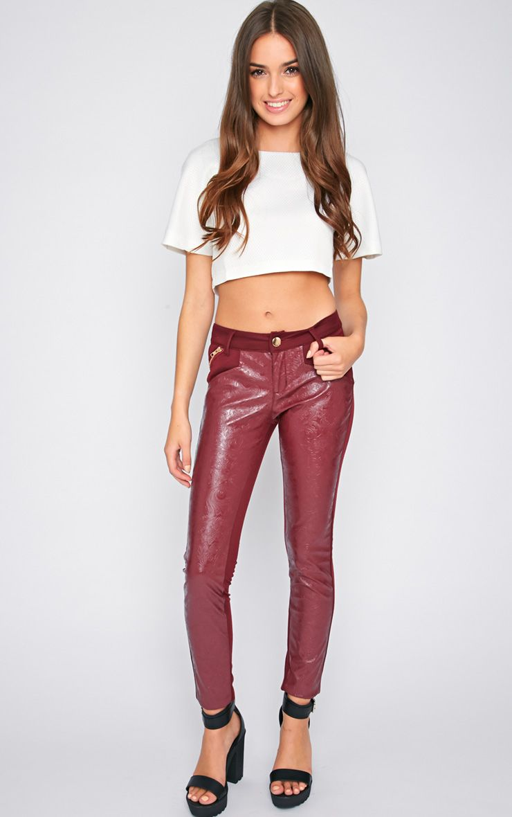 Sheree Burgundy Leather Panel Jeans With PU Floral Detail 1