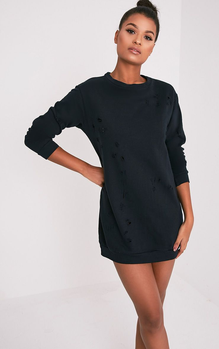 Violet Black Distressed Long Sleeve Sweater Dress