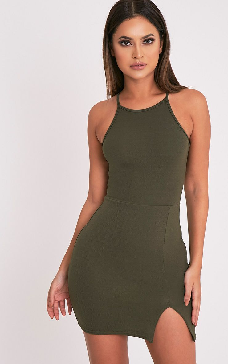 Aniqah Khaki High Neck Split Detail Bodycon Dress