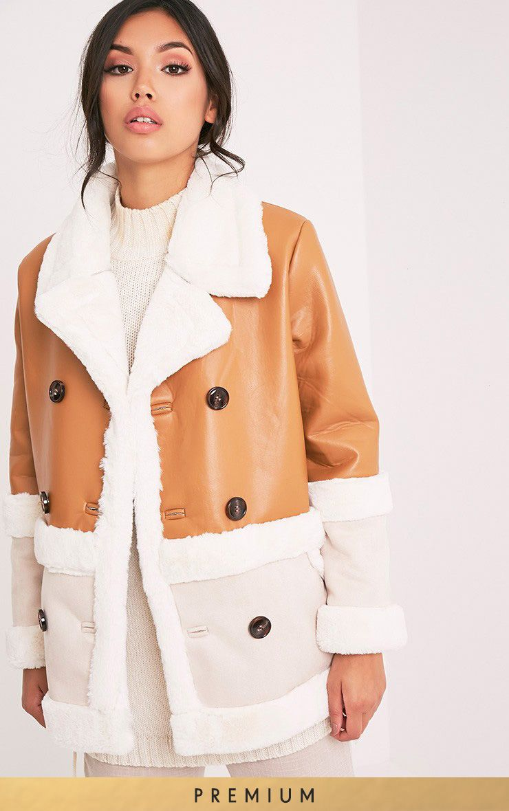 Rubie Tan Premium Faux Leather Colour Block Coat