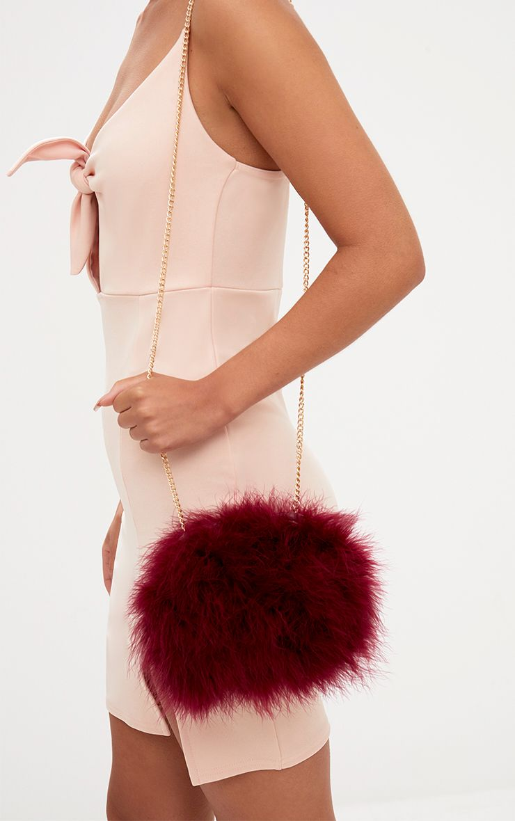 Burgundy Marabou Feather Clutch Bag