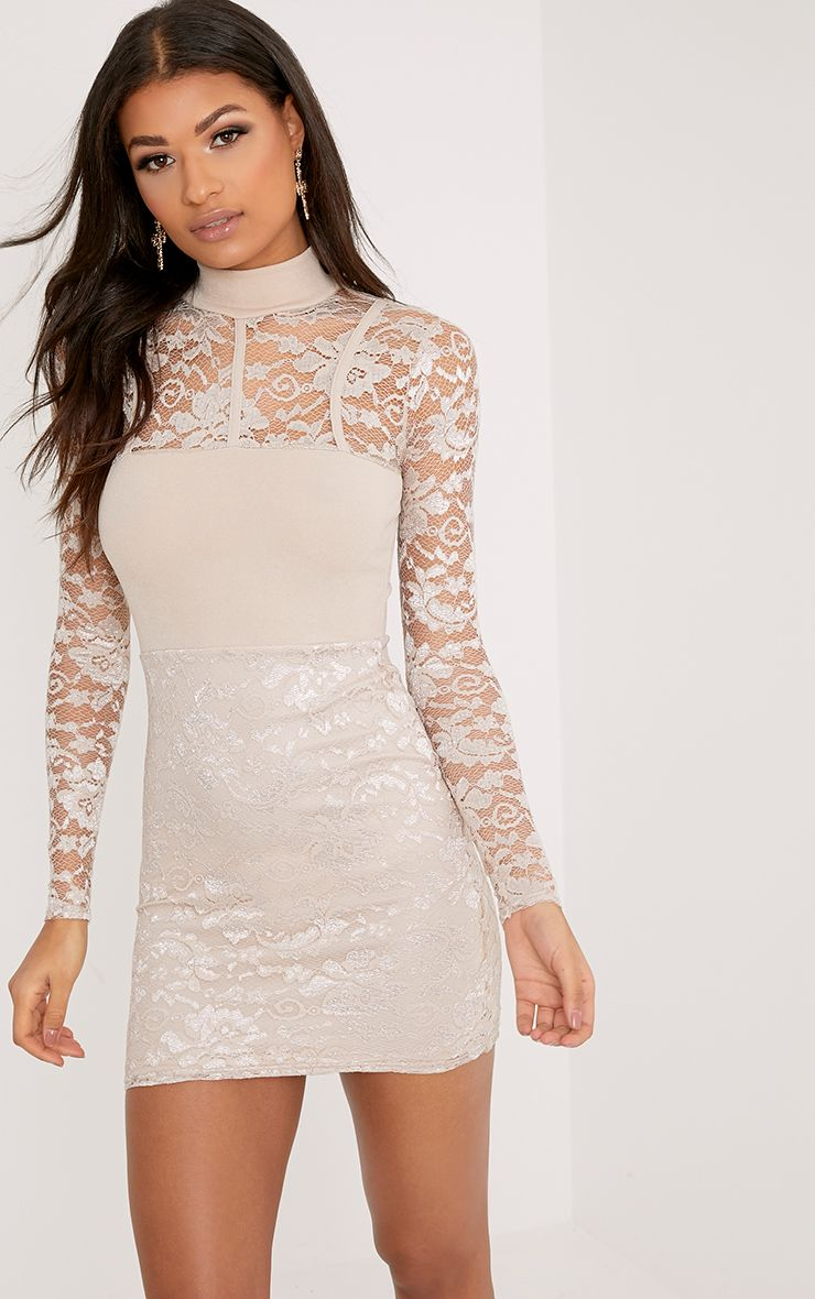 Emelia Nude High Neck Lace Bodycon Dress