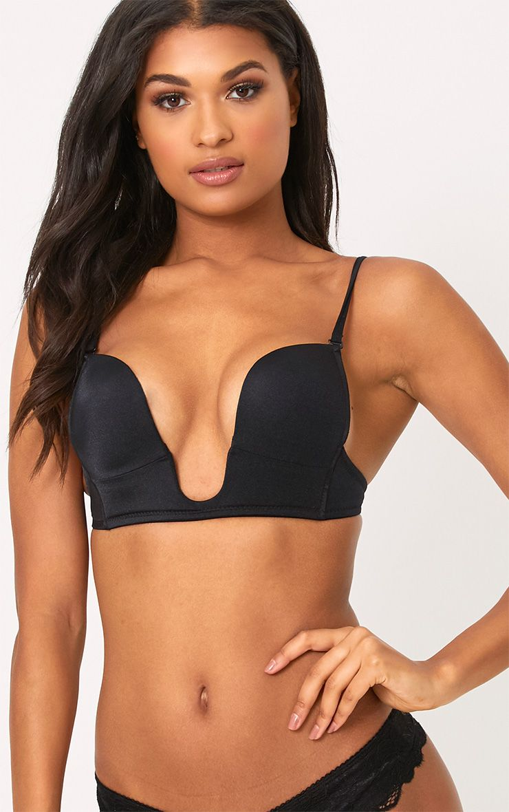Black Strappy Plunge Bra
