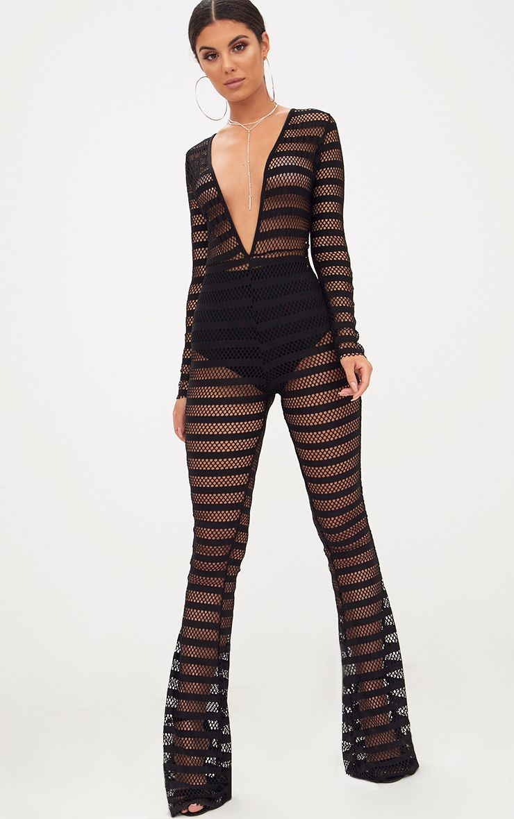 Black Knitted Long Sleeve Plunge Wide Leg Jumpsuit