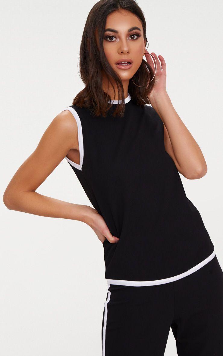 Black Contrast Binding Tunic Top