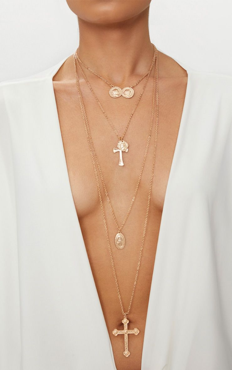 Gold Assorted Cross Tiered Necklace 1