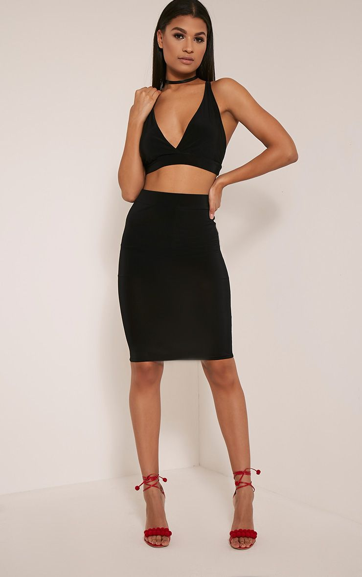 Shanice Black Slinky Midi Skirt