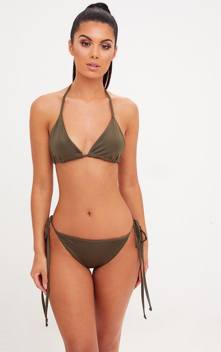 Khaki Mix & Match Adjustable Tie Side Bikini Bottom