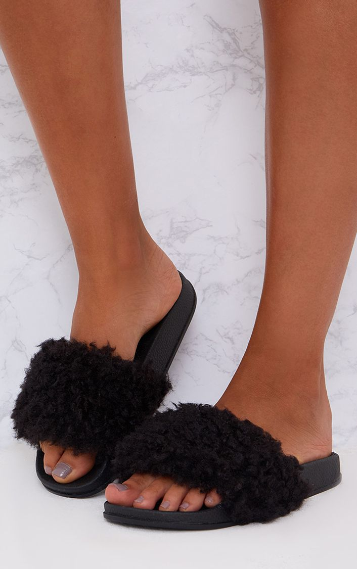 Black Faux Shearling Sliders