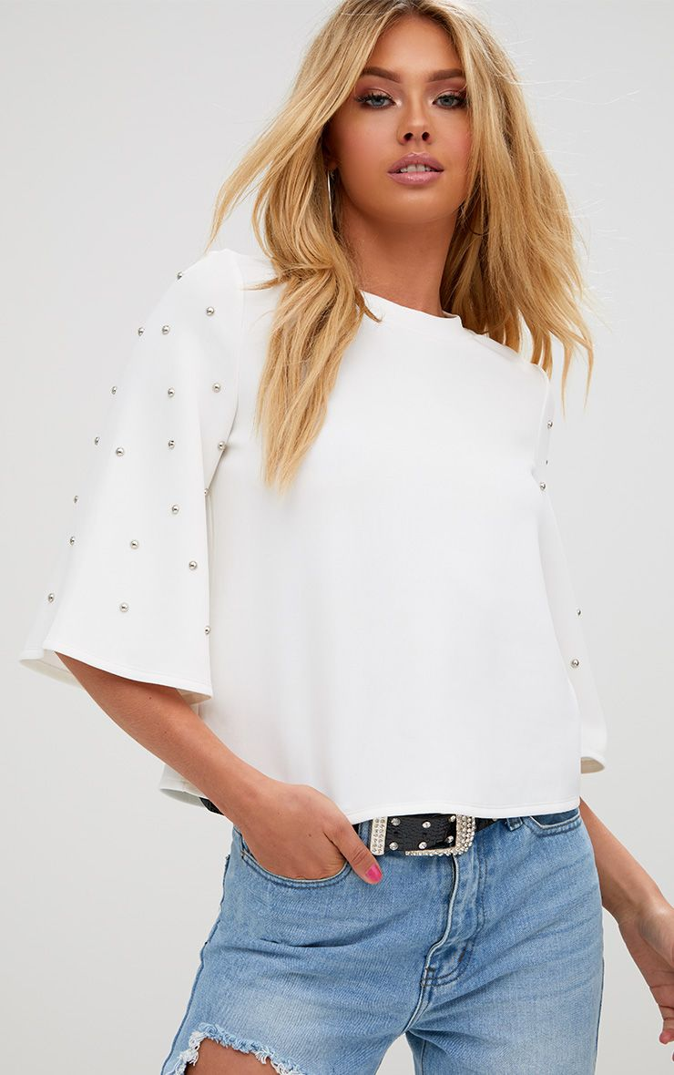 White Studded Flare Sleeve High Neck Top