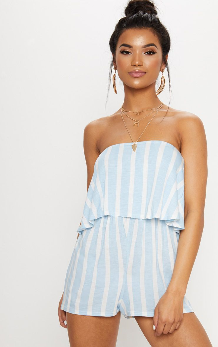 Powder Blue Striped Bandeau Layered Playsuit