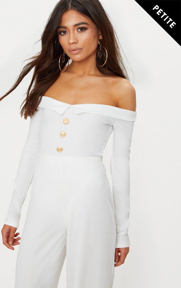 Petite White Button Front Tux Detail Long Sleeve Bodysuit