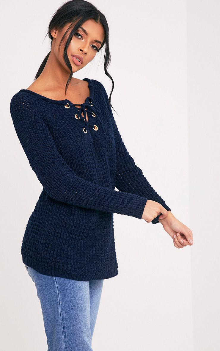 Haidyn Navy Lace Up Knitted Jumper
