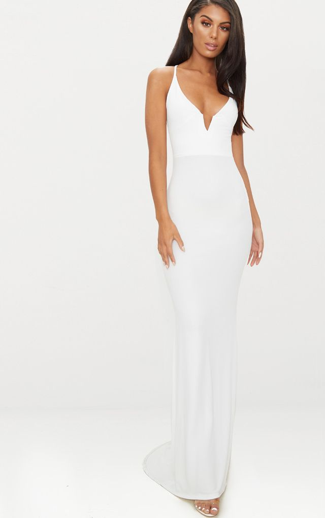 Petite White Halterneck Scoop Back Maxi Dress Pretty Little Thing