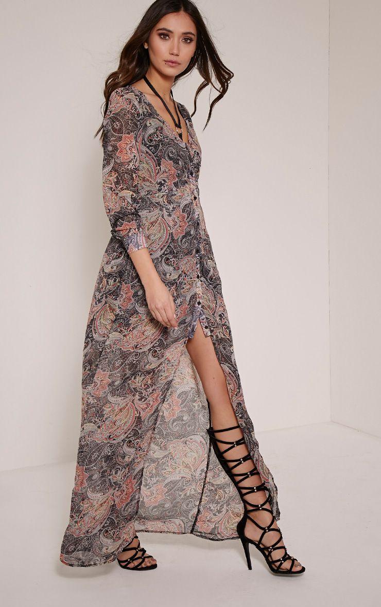 Melia Paisley Print Button Down Maxi Dress 1