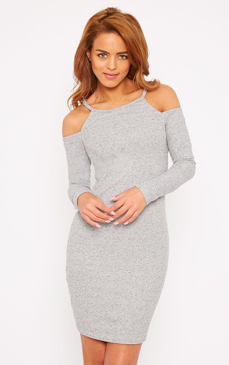 Geri Grey Ribbed Cut Out Shoulder Mini Dress 1