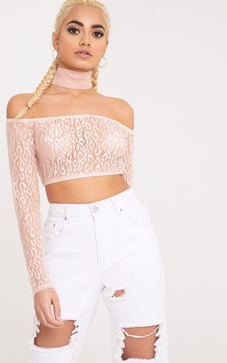 Knox Pink Leopard Mesh Bardot Long Sleeve Crop Top