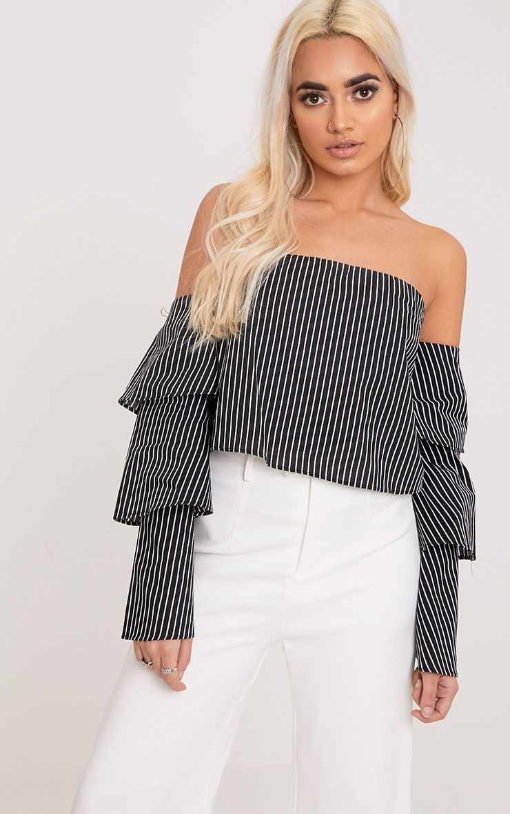 Caitie Black Stripe Ruffle Sleeve Bardot Shirt