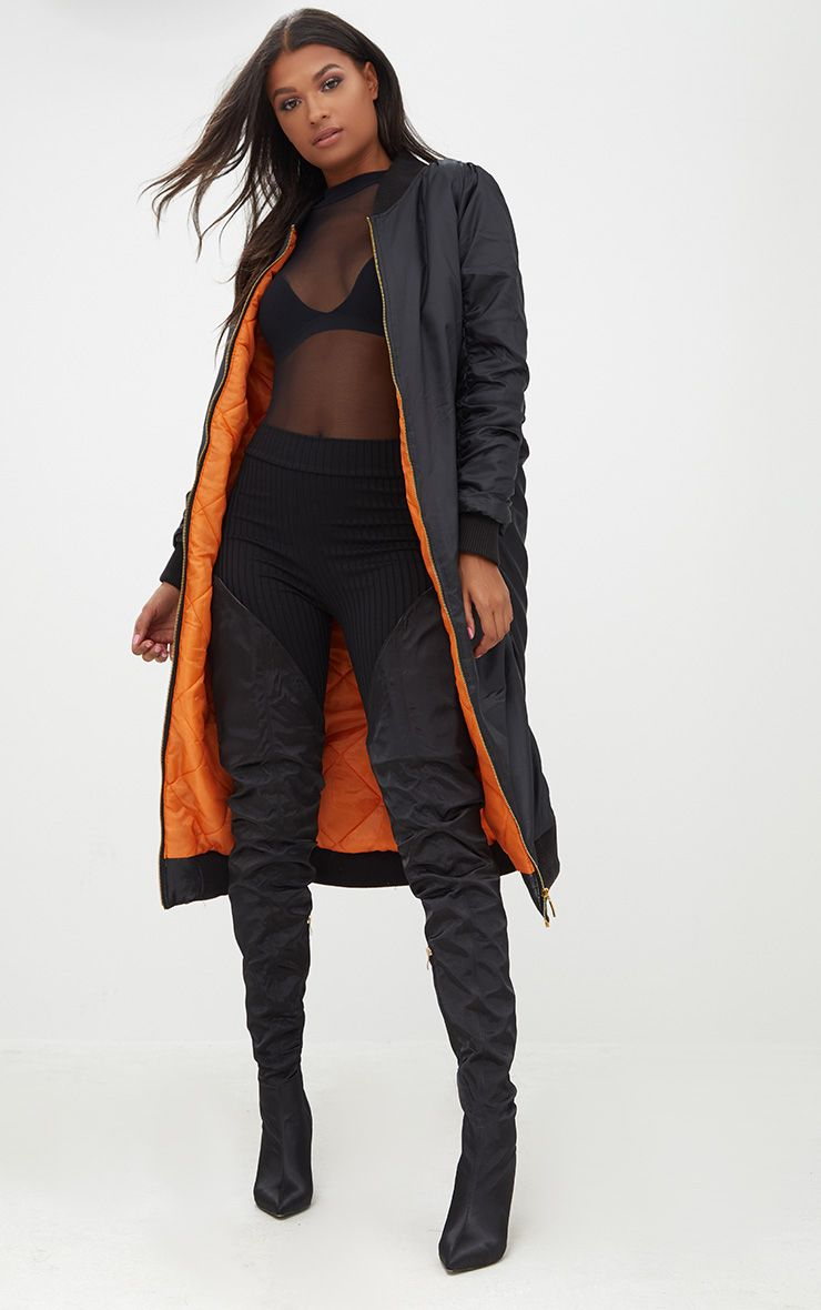 Black Maxi Length Bomber Jacket