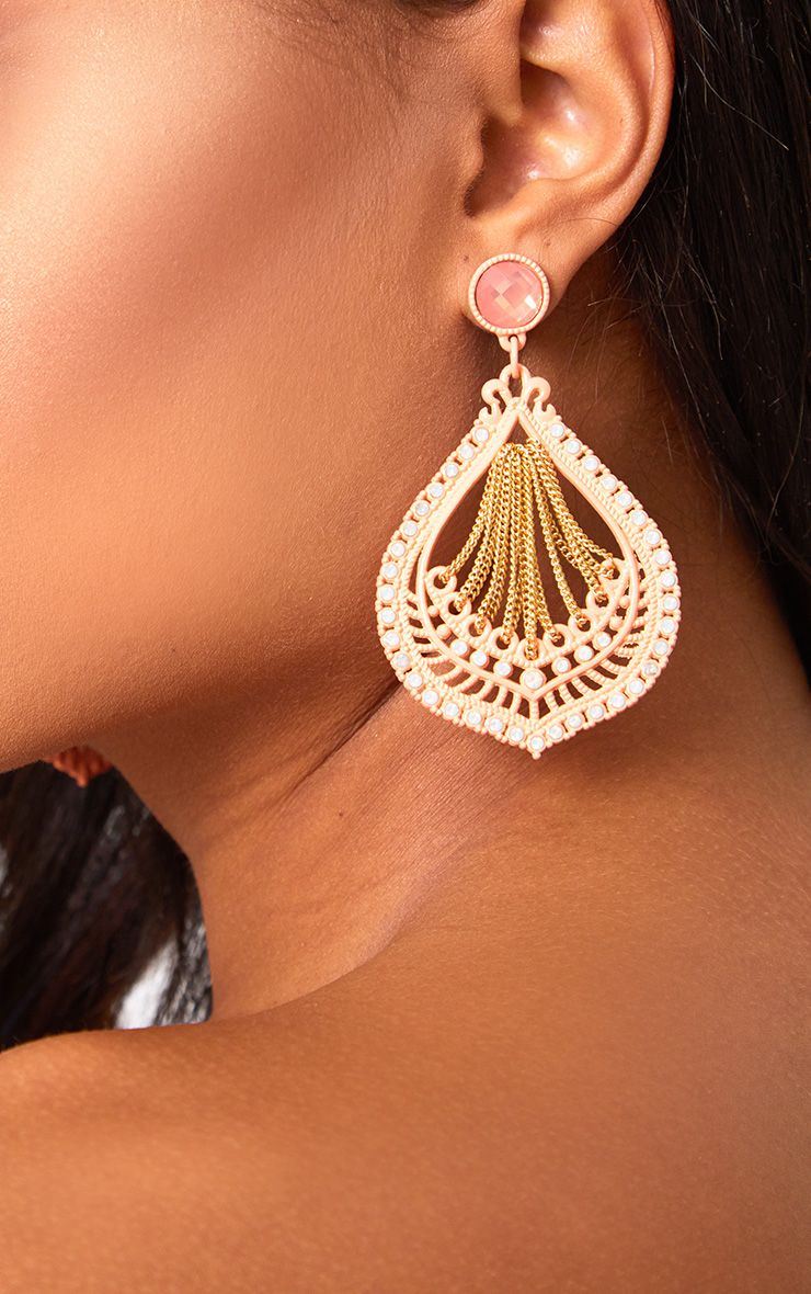 Peach Tear Drop Statement Earrings