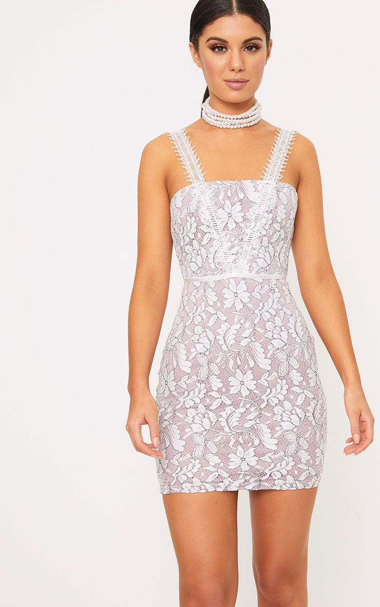 Payton Lilac Lace Strap Detail Bodycon Dress