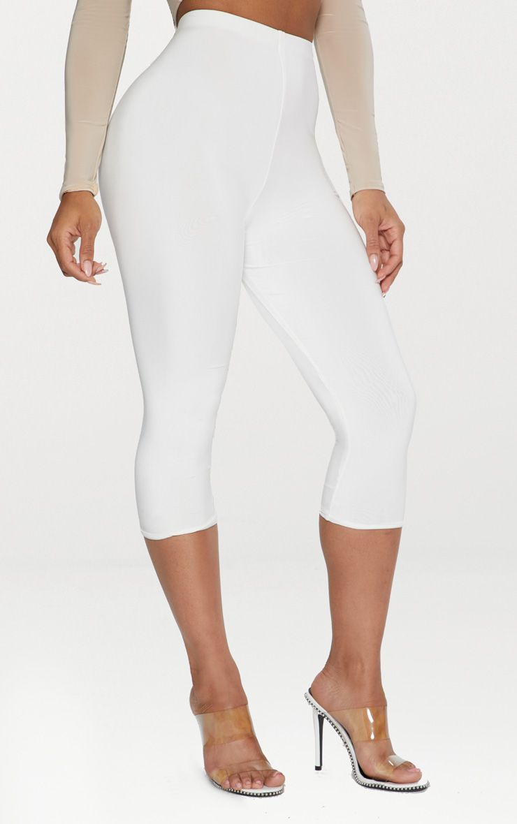 White Second Skin Slinky Cropped Legging