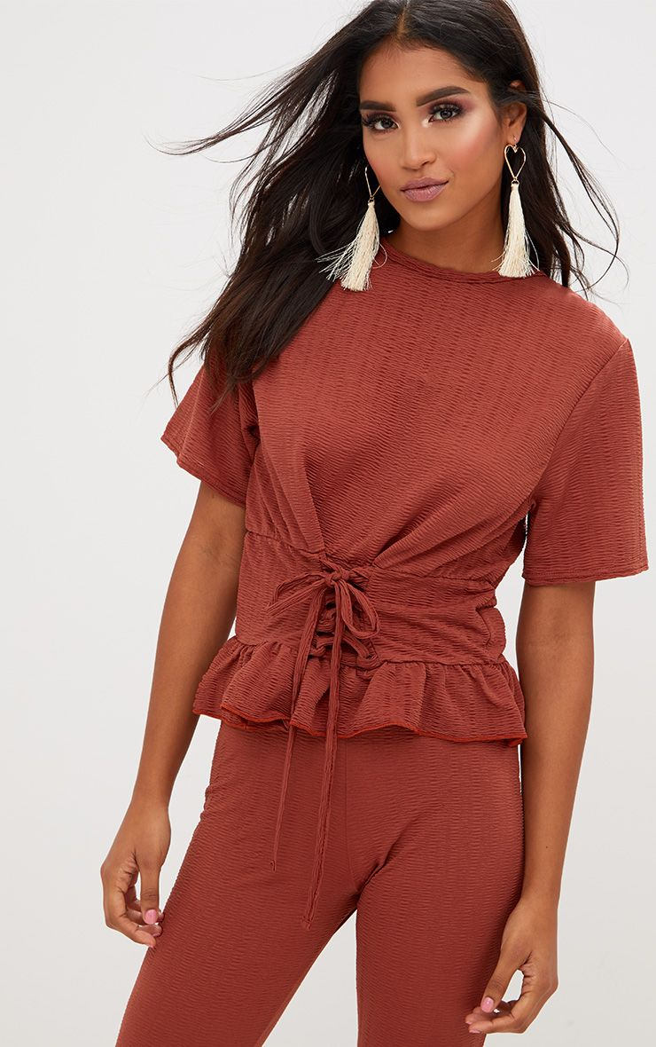 Rust Crinkle Lace Up Frill Top