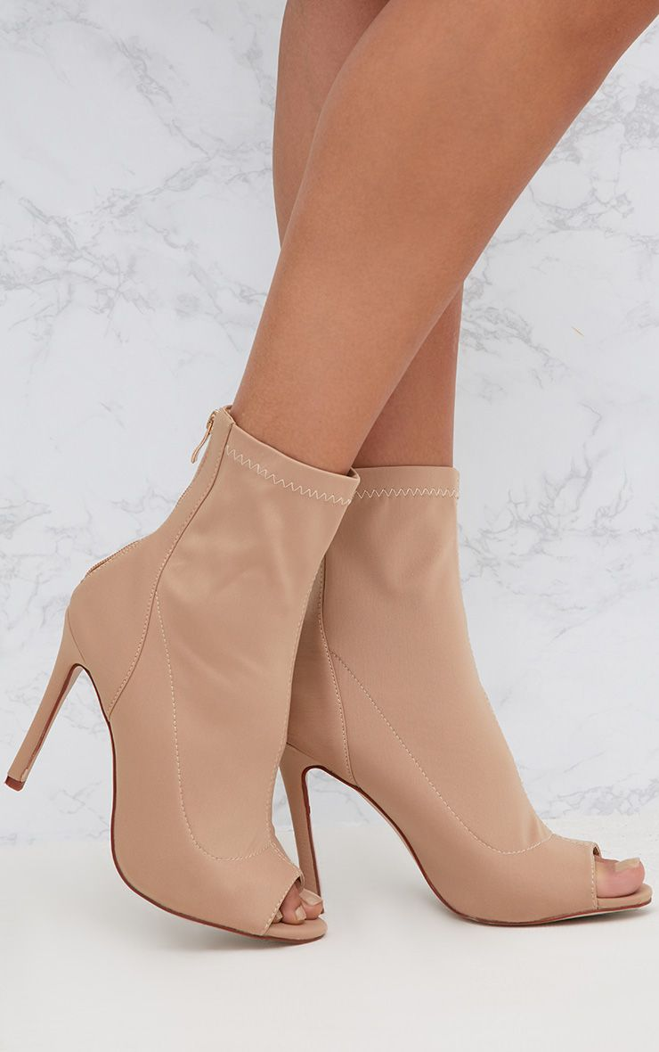 Nude Lycra Heeled Peep Toe Sock Boots 1