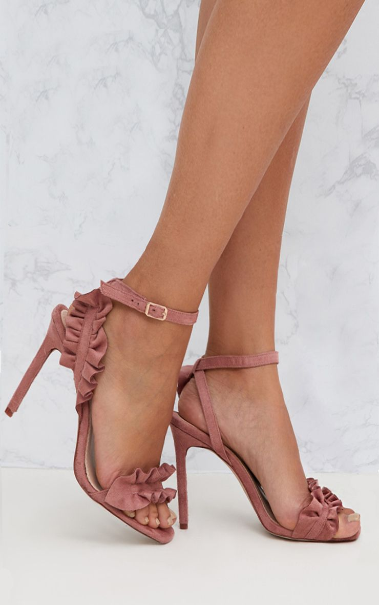 Dusty Pink Faux Suede Square Toe Frill Strap Heels
