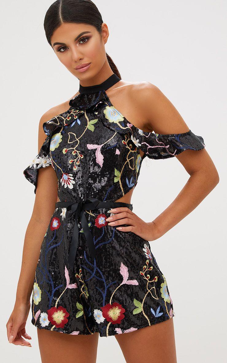 Black Cold Shoulder Floral Embroidered Sequin Romper 1