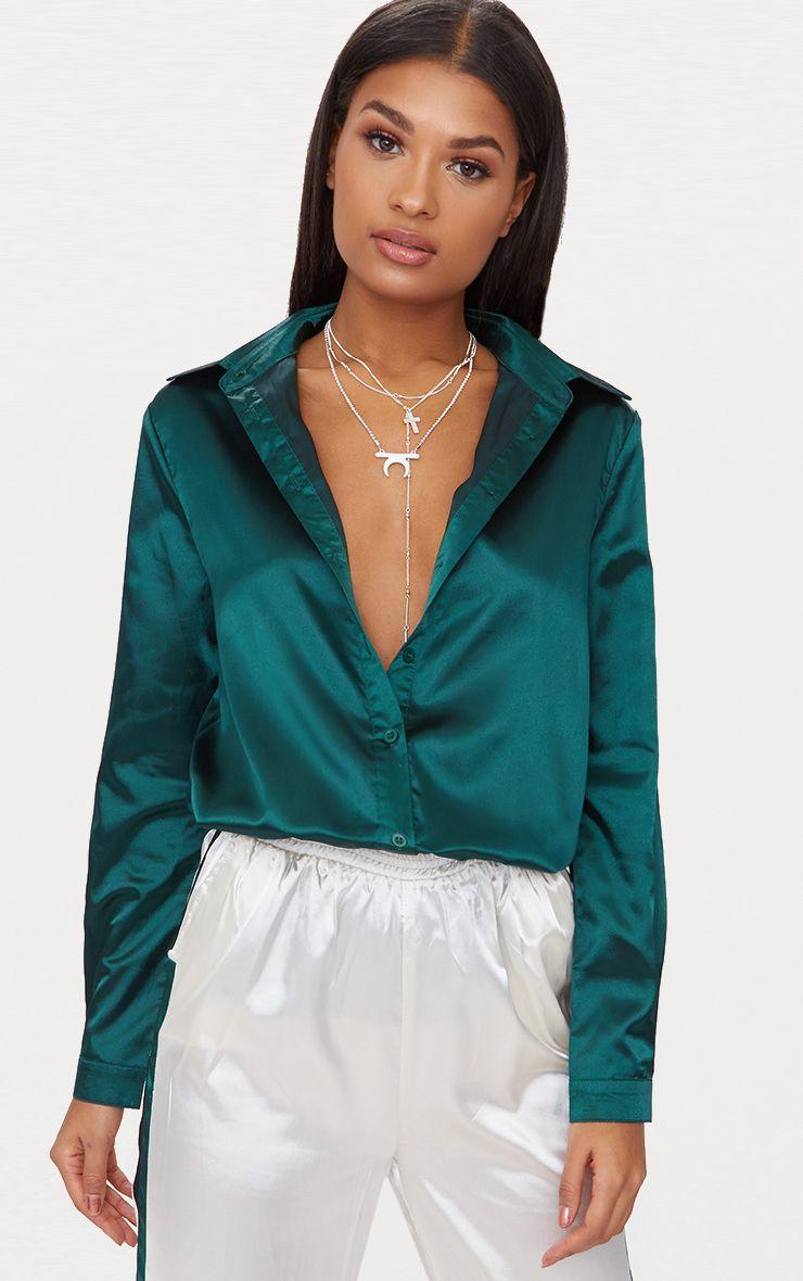 Emerald Green Satin Button front Shirt