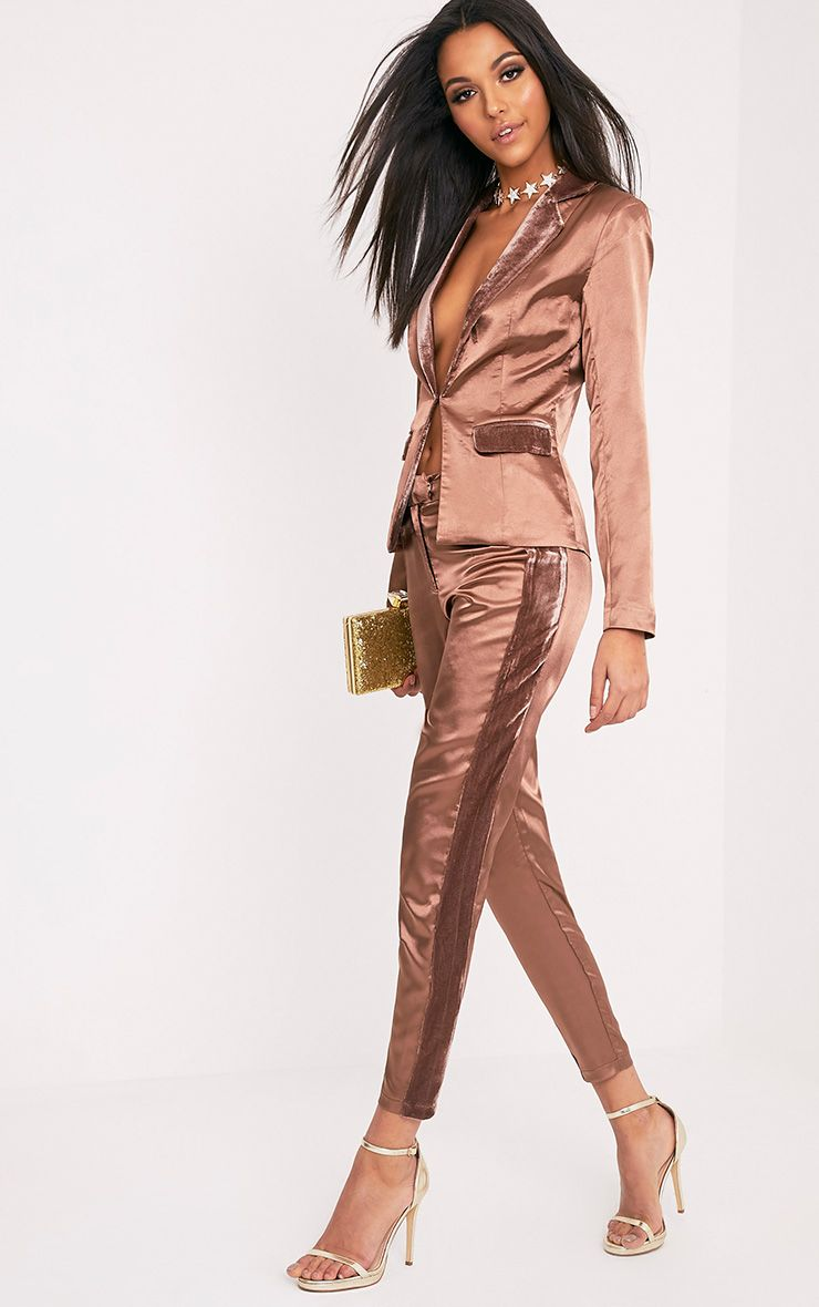 Alaynie Mink Velvet Stripe Satin Trousers