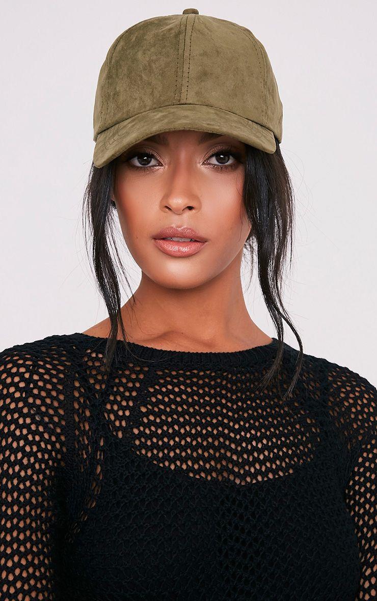 Faye Khaki Faux Suede Cap
