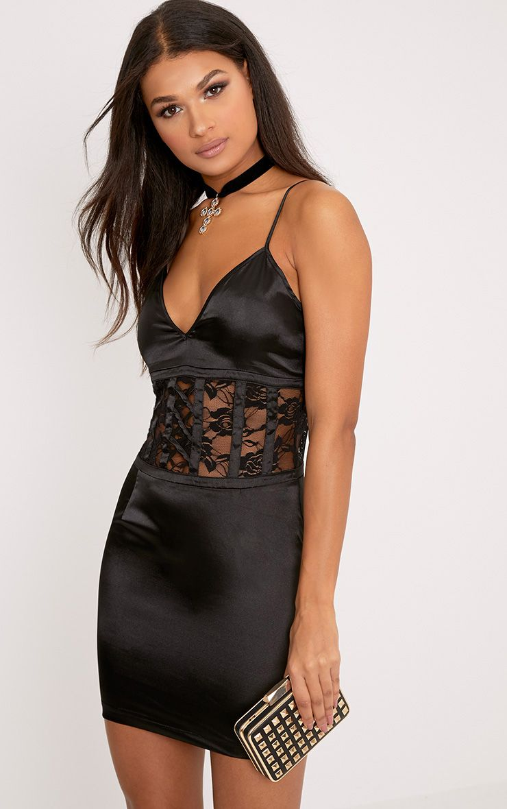 Kadija Black Satin Lace Corset Detail Bodycon Dress 1